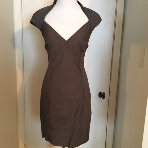 bebe Dresses & Skirts - BEBE Belted Bustier Gray Dress lace New no tags S